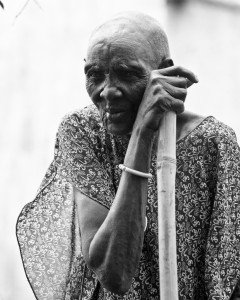 An old Dinka woman in the village of Liliir, South Sudan.