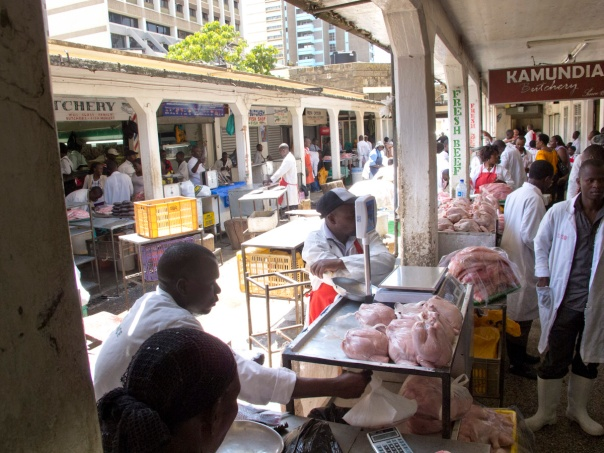 A food market in central Nairobi.