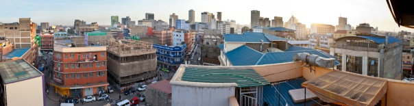 A panorama of Nairobi from the water town on top of a hotel.