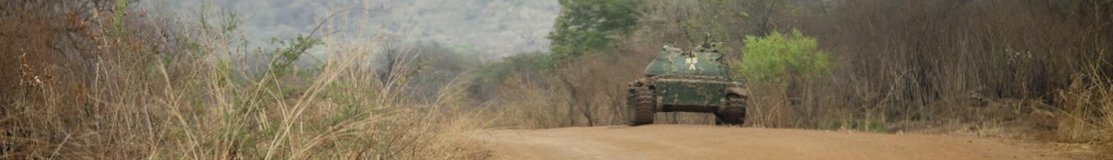 Tank along the road between Torit and Juba, South Sudan