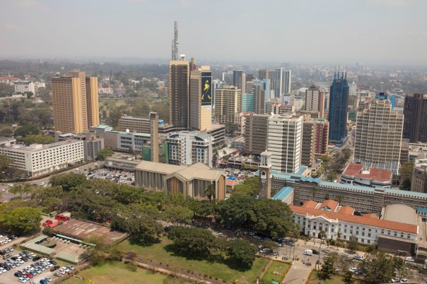 Low aerial view of Nairobi, Kenya