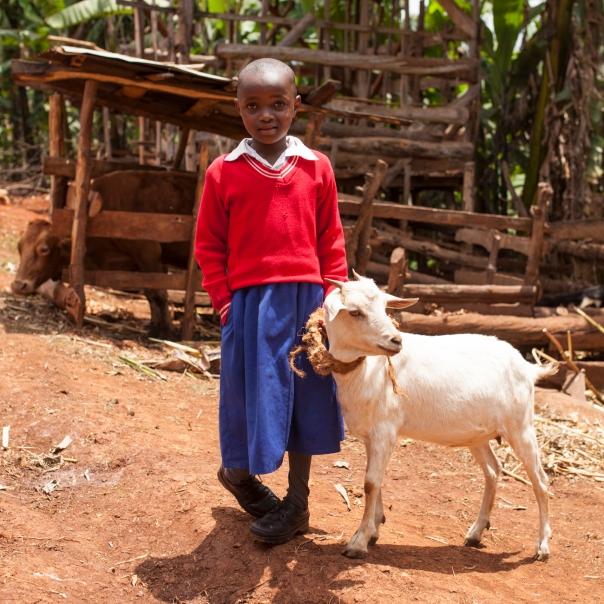 Faith with her goat.