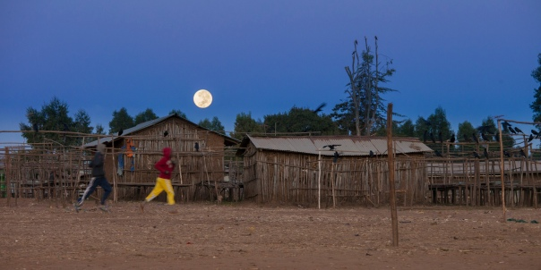 The moon setting as dawn approaches in Ethiopia.