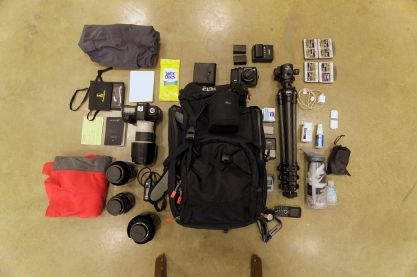 The contents of my photo bag when traveling to Ethiopia.