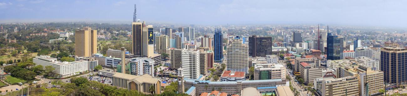 Aerial panorama of the downtown area of Nairobi, Kenya
