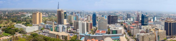 Aerial panorama of the downtown area of Nairobi, Kenya