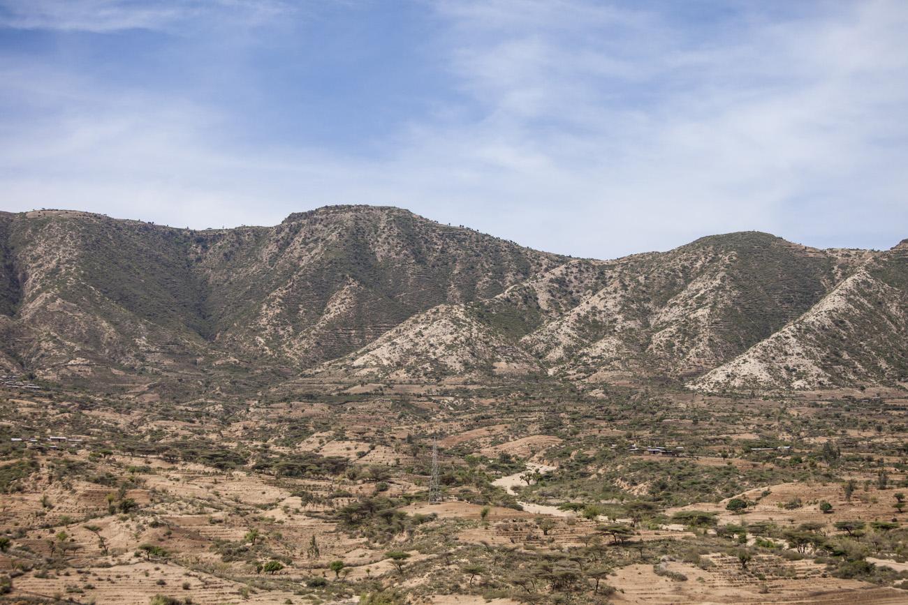 dry landscape and mountains of eastern Ethiopia near Somalia