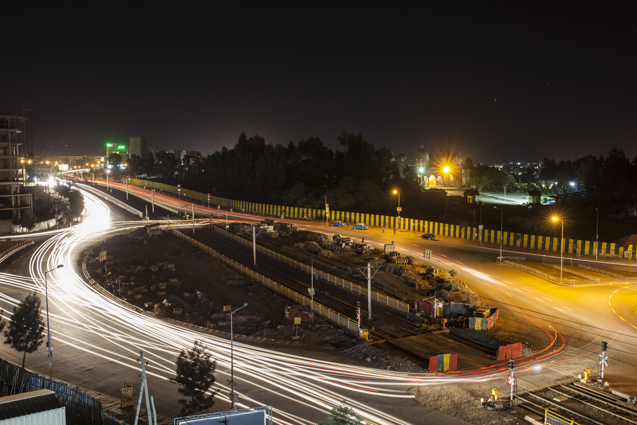 Roundabout in Addis Ababa, Ethiopia with light streaks from time exposure