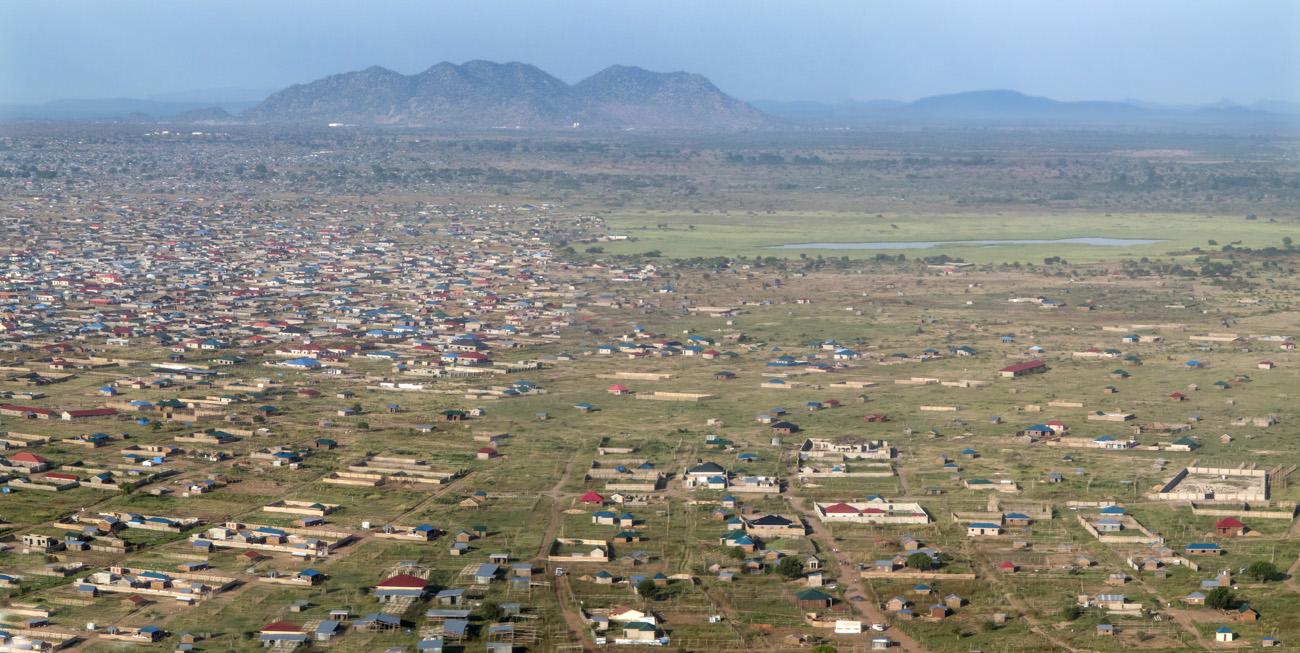 low aerial panorama of Juba, South Sudan