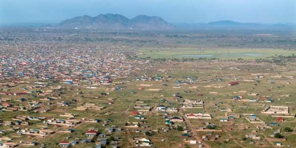 low aerial panorama of Juba, South Sudan