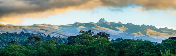 wide panorama of mount Kenya at dawn. Mt Kenya is the second highest mountain in Africa at over 17,000 feet.