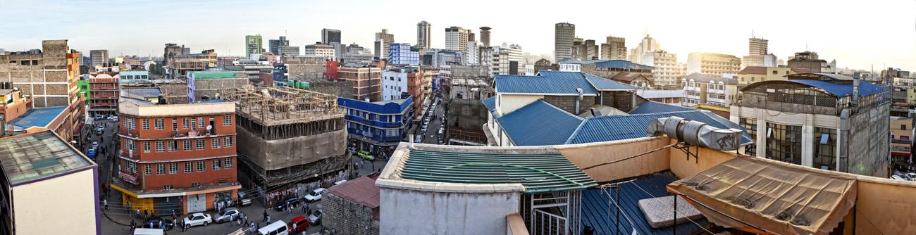 180 degree panorama of Nairobi Kenya taken from rooftop.