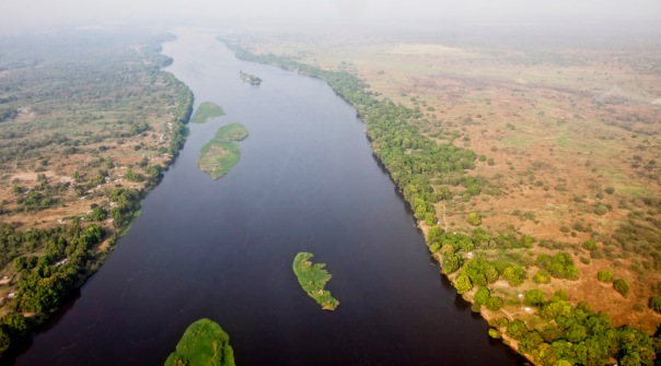 aerial view of Juba, South Sudan and the white nile river