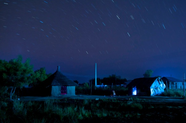 Bor, South Sudan at night with star trails