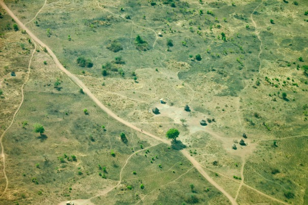 aerial view of village in south sudan