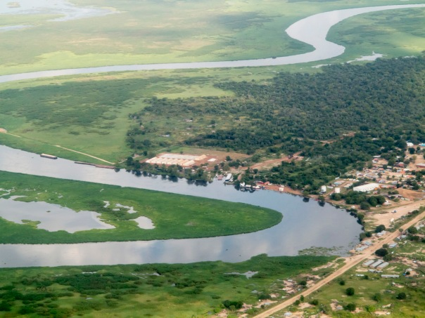 aerial view of nile river and town in south sudan along the Juba-Bor road.