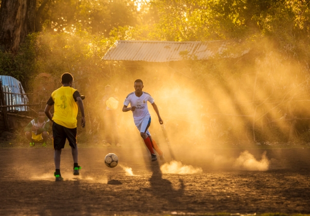 Athletes train in the early morning dust of the Ethiopian highlands. Possible art piece.