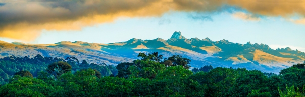 wide panorama of mount Kenya at dawn. Possible art piece.