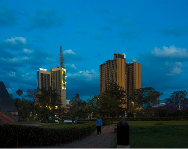 Nairobi shortly after dark.