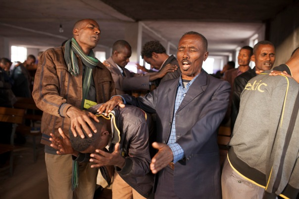 Pastors totally lost in prayer in Ethiopia.