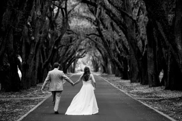 One of my couples in an avenue of oaks.
