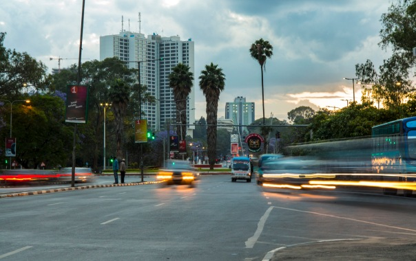 Short time exposure of traffic in downtown Nairobi, Kenya.